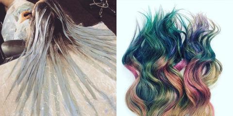 Chloe norgaard acconciature di primavera con i capelli verdi for Fluid hair painting