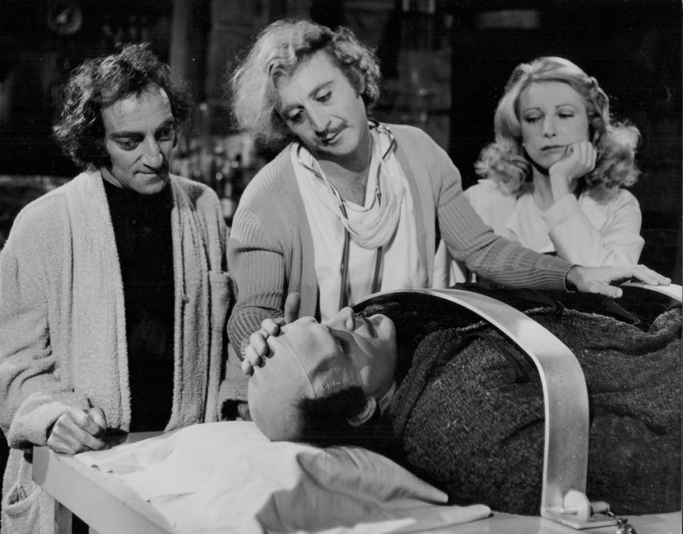 Actors Gene Wilder, Peter Boyle, Marty Feldman and Teri Garr in a scene from the movie 'Young Frankenstein', 1974. (Photo by Stanley Bielecki Movie Collection/Getty Images)