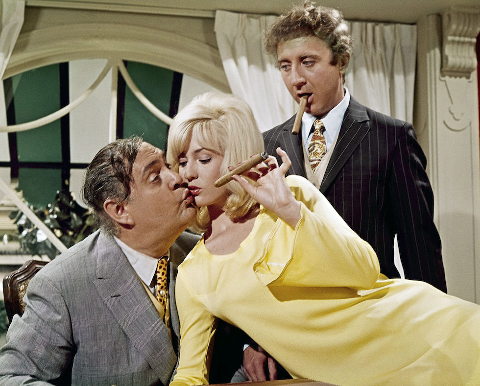 "Lee Meredith with Zero Mostell, left, and Gene Wilder in a scene from the movie ""The Producers"" July 1967. (AP Photo)"